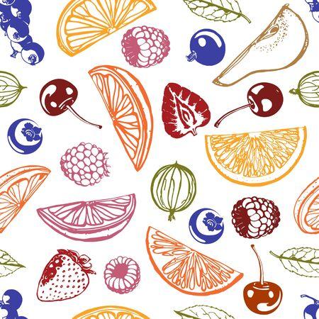 vector citrus seamless background. abstract grapefruit, lemon, lime and orange symbols. tropical fruit pattern