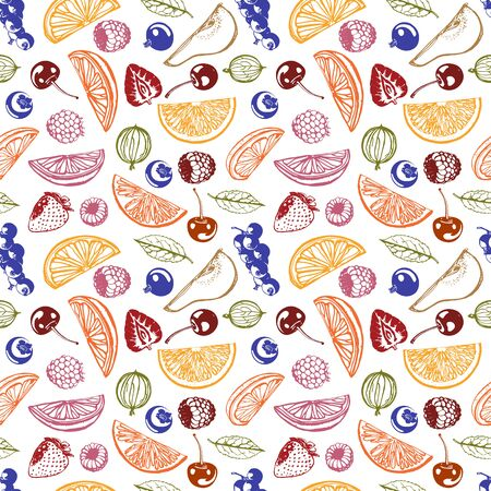 Vector berries and fruits seamless background. Abstract currants, raspberries, citruses, cherries, gooseberries symbols. Linear contour color imagesfruit pattern