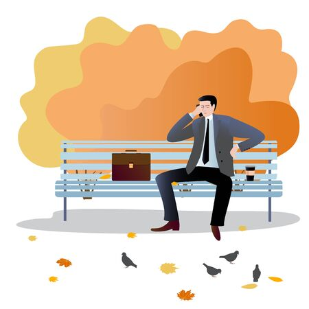 . A man in a suit sits on a bench next to his briefcase, speaks on the phone, drinks coffee. Vector illustration in flat design of autumn season background with people outdoor