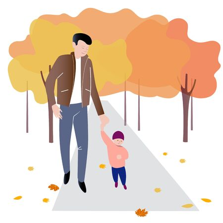 A man leads a small child by the hand along the path in the park. Vector illustration in flat design of autumn season background with people outdoor