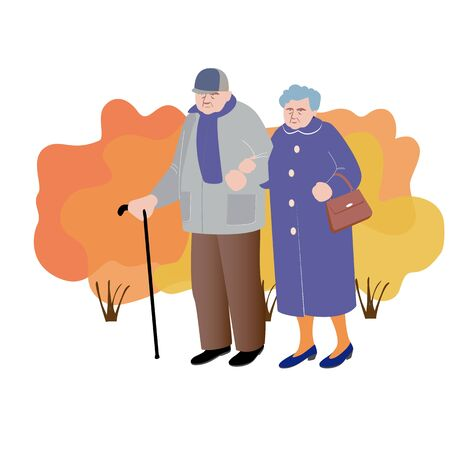 An elderly man and woman go. The man leans on a cane.The woman has a purse. Vector illustration in flat design of autumn season background with people outdoor Ilustração