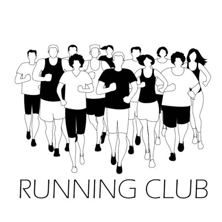 Running marathon, people run, colorful poster. Vector illustration Archivio Fotografico - 138292973
