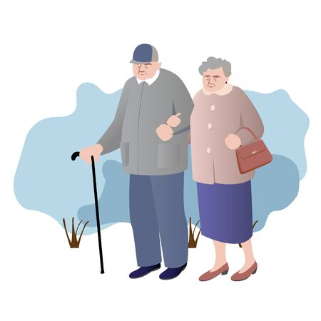 An elderly couple walking together. An old man with a cane, a woman with a purse.Color vector illustration. The concept of active ageing