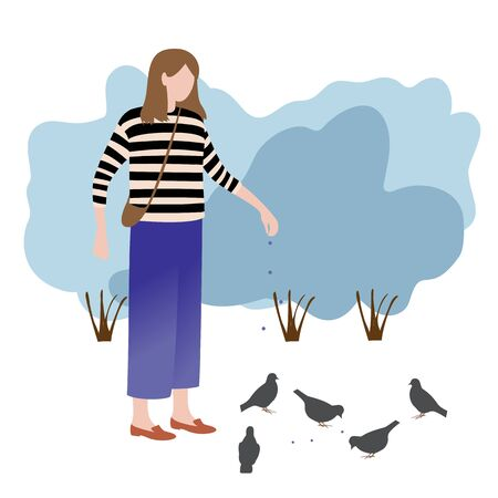a woman in a striped sweater feeding birds in the Park. the concept of style flat. color vector illustration 일러스트