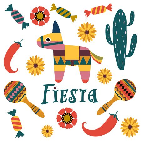 Set of icons on the theme of Mexican holidays. Traditional symbols: pinata, cactus, pepper, maracas, candy, flowers. color vector illustration. For use in printing stickers, banners, postcards, invitations and more