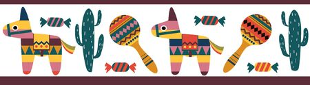 Horizontal set of icons on the theme of Mexican holidays for use in Scotch printing. Traditional symbols: pinata, cactus, pepper, maracas, candy, flowers. color vector illustration. Color vector illustration for use in printing stickers, banners, postcards, invitations and more