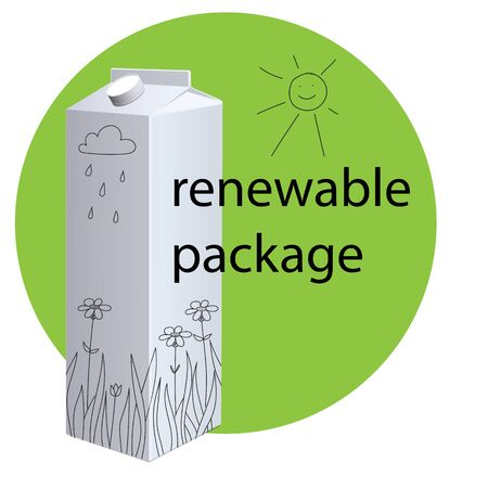 Vector blank milk package. ?oncept of recycling modern packaging. Image of a cardboard box on a green background with the inscription Renewable package
