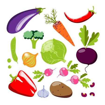 Set with hand drawn colorful doodle vegetables. Sketch style vector collection. Vegetables flat icons set