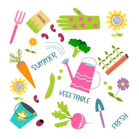 Spring icons set, flat style. Gardening cute collection of design elements, isolated on white background. Nature clip art. Vector illustration Ilustração