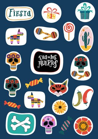 Set of icons for printing stickers: pinata, cactus, maracas, flowers, candy on white background. Symbols of the Mexican holiday. Color vector illustration. Çizim