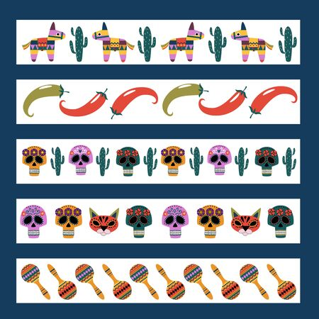 The horizontal set of icons: pinata, cactus, maracas, flowers, candy on white background. Symbols of the Mexican holiday. Color vector illustration.