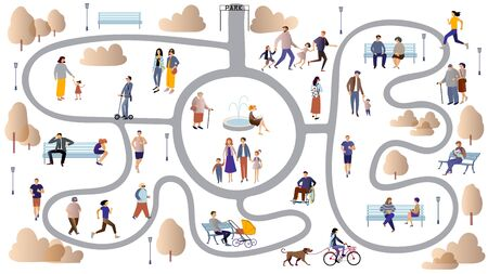 Women, men, parents and children, people with disabilities, elderly and young people spend time outdoors: jogging, walking , chatting, riding bicycles, walking with dogs . People in the park flat cartoon vector illustration. Çizim