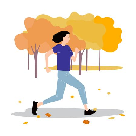 A young slender woman is running in the autumn Park. Vector illustration in flat design of autumn season background with people outdoor