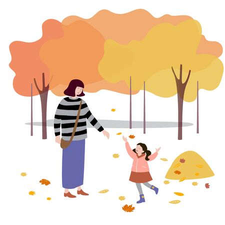 Woman walks with her daughter in the park, throws up autumn leaves. Vector illustration in flat design of autumn season background with people outdoor