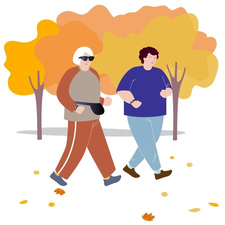 Two adult elderly friends are running in the autumn Park.Vector illustration in flat design of autumn season background with people outdoor Ilustração