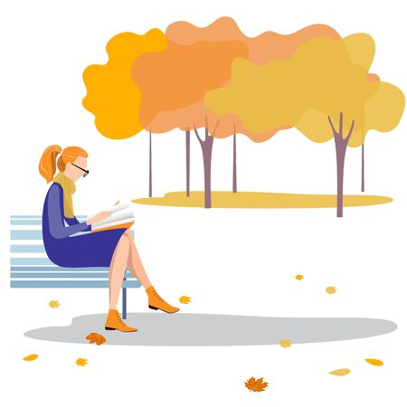 A young woman sitting on a bench reading a book in the autumn Park. Vector illustration in flat design of autumn season background with people outdoor Çizim