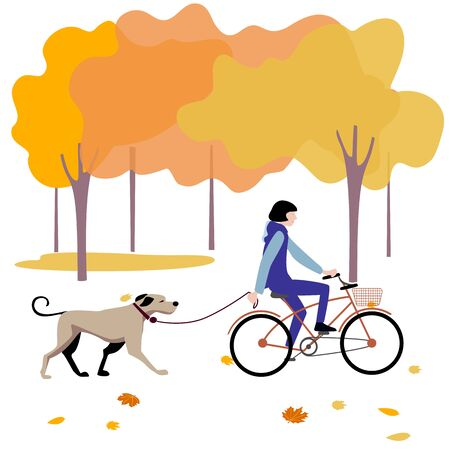 Girl riding a bike in the autumn Park, next on a leash a big dogVector illustration in flat design of autumn season background with people outdoor Foto de archivo - 138295101
