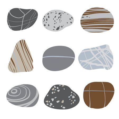 Collezione di pietre di mare su sfondo di sabbia. Illustrazione vettoriale.