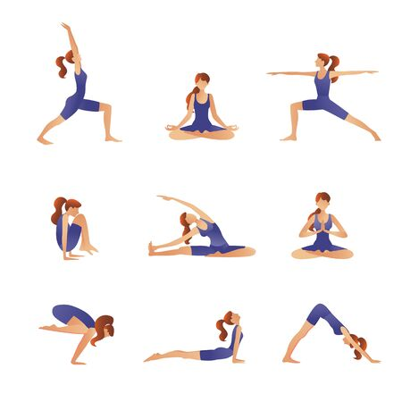 Set of vector silhouettes of woman doing yoga exercises. Icons of flexible girl stretching her body in different yoga poses. Colorful shapes of woman isolated on white background. Çizim