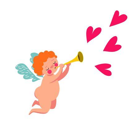 Cute Cupid. Cute angel playing the horn Ilustração