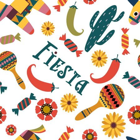 Seamless pattern: pinata, cactus, maracas, flowers, candy on white background. Symbols of the Mexican holiday. Color vector illustration.