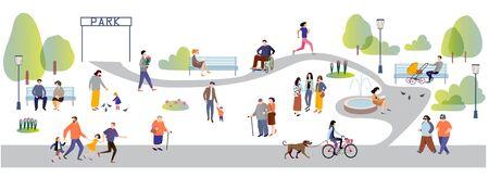Gente en la ilustración de vector de dibujos animados plana parque. Ilustración de vector