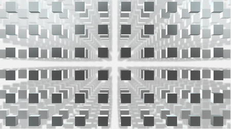 ebox: 3d cube grid on white backgreound with depth of field Stock Photo