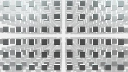 ebox: Griglia 3d cube on backgreound bianco con la profondit� di campo