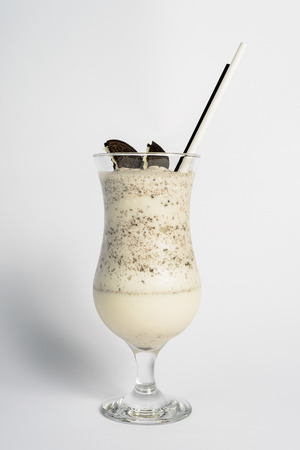 cookies and cream: Banana smoothie with biscuits Stock Photo