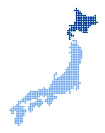 nihon: Stylized map of Japan with map of Hokkaido made from blue dots Illustration