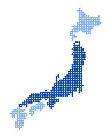 nihon: Stylized map of Japan with map of Honshu made from blue dots
