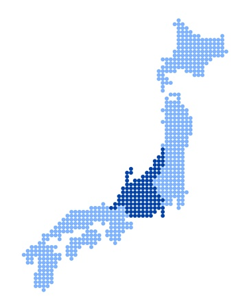 asiatic: Stylized map of Japan with map of Chubu region made from blue dots Illustration