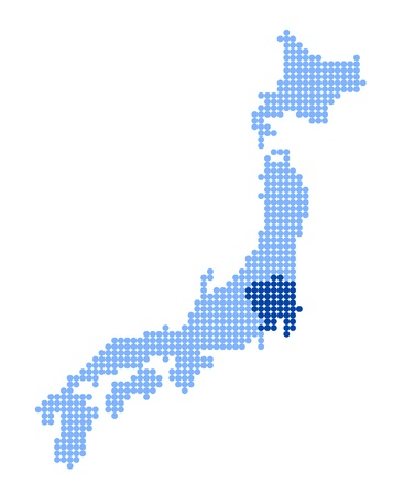 nihon: Stylized map of Japan with map of Kanto region made from blue dots
