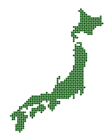 nihon: Stylized map of Japan made from green dots Illustration