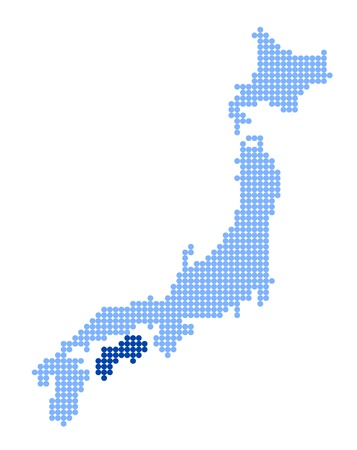 nihon: Stylized map of Japan with map of Shikoku made from blue dots Illustration