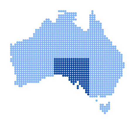 aussie: Map of Australia with stylized map of South Australia made from blue dots