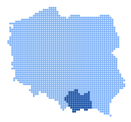 Map of Poland with stylized map of Lesser Poland Voivodeship made from blue dots