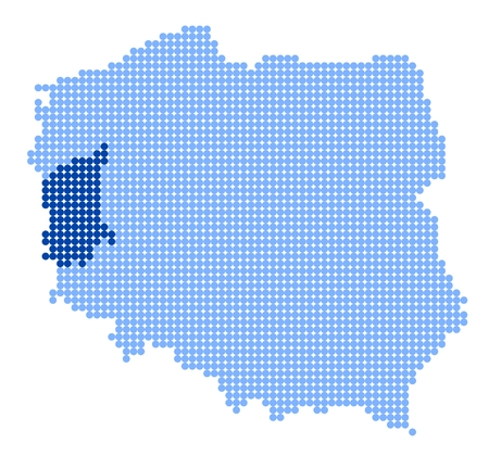 Map of Poland with stylized map of Lubusz Voivodeship made from blue dots
