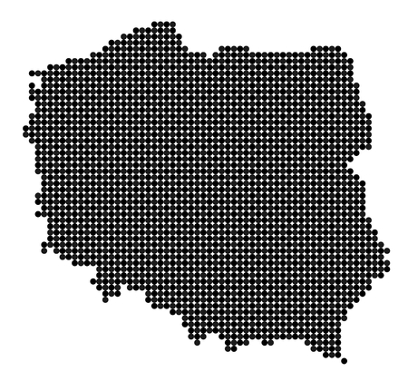 Map of Poland made from black and grey dots