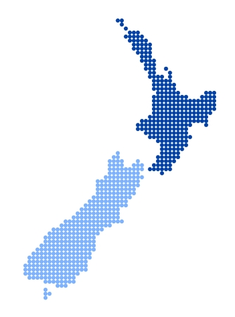 Map of New Zealand with stylized map of North Island made from blue dots