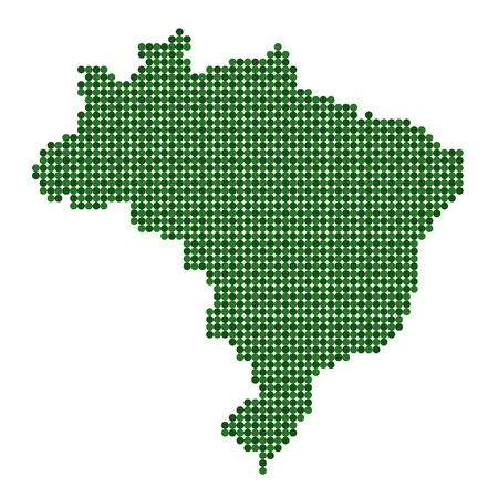 Map of Brazil made from green dots