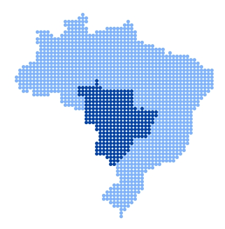 Map of Brazil with stylized map of Central-West Region made from blue dots