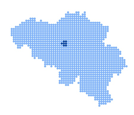 Stylized map of Belgium with map of Brussels-Capital Region (Brussels) made from blue dots