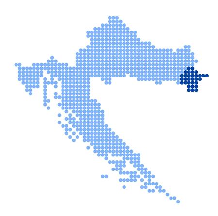 croatia: Stylized map of Croatia with Vukovar-Srijem County