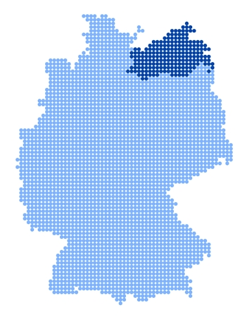 mecklenburg  western pomerania: Map of Germany with stylized map of Mecklenburg-Vorpommern made from blue dots Illustration