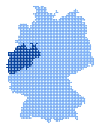Map of Germany with stylized map of North Rhine-Westphalia made from blue dots