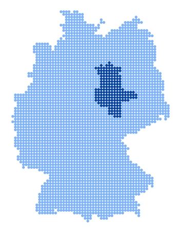 Map of Germany with stylized map of Saxony-Anhalt made from blue dots