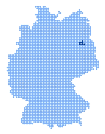 Map of Germany with stylized map of Berlin made from blue dots