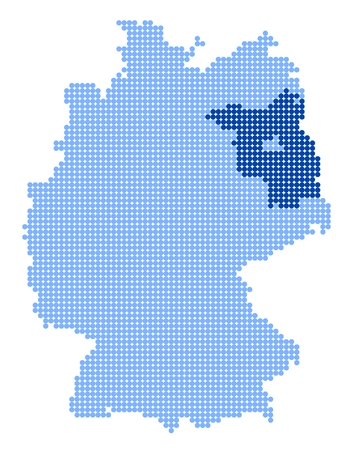 brandenburg: Map of Germany with stylized map of Brandenburg made from blue dots Illustration