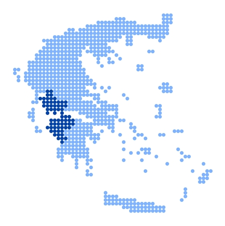 made in greece: Map of Greece with stylized map of West (Western) Greece made from blue dots